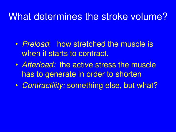 What determines the stroke volume?