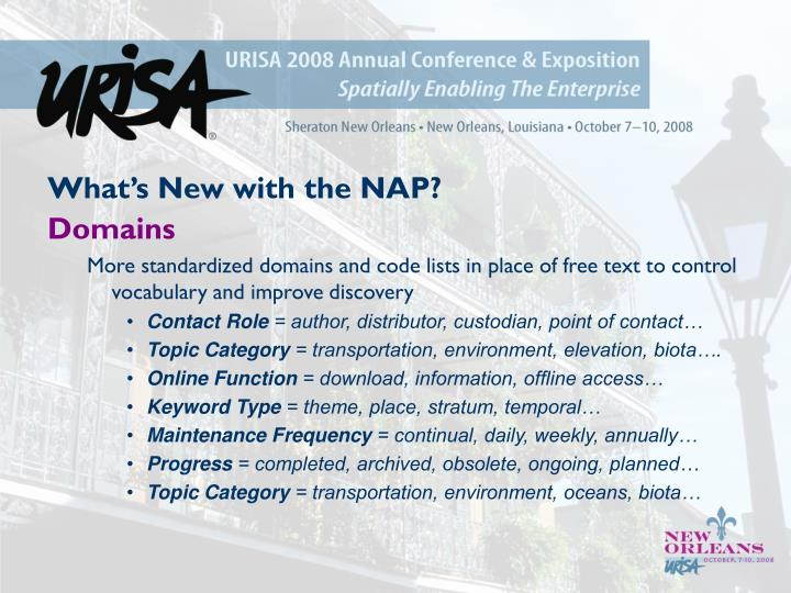 What's New with the NAP?