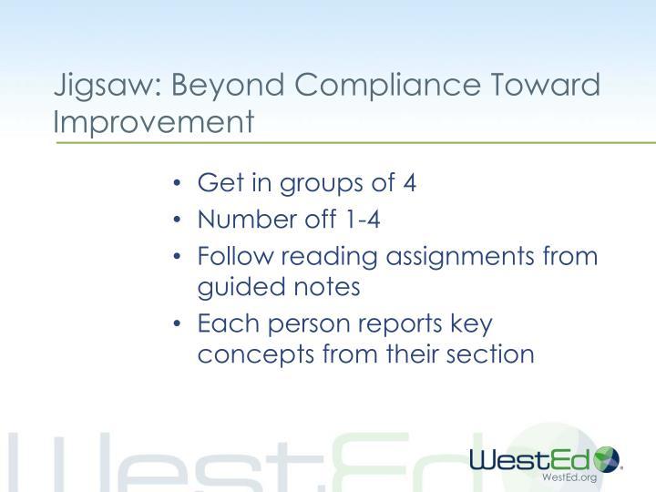 Jigsaw: Beyond Compliance Toward Improvement