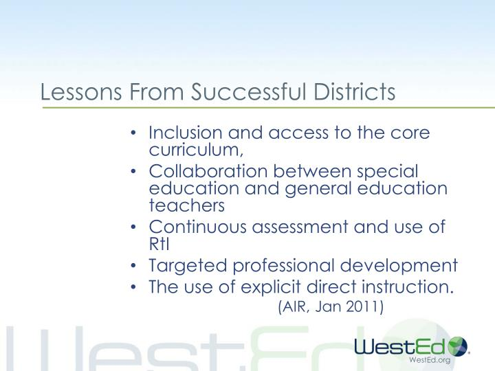 Lessons From Successful Districts