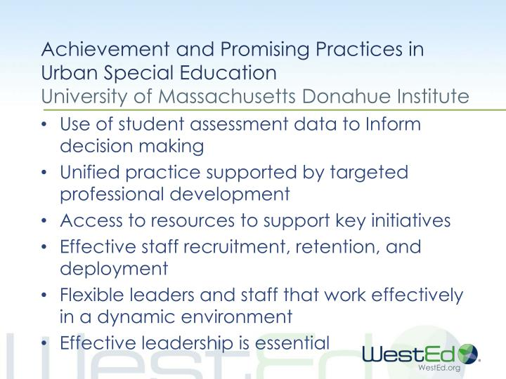 Achievement and Promising Practices in Urban Special Education