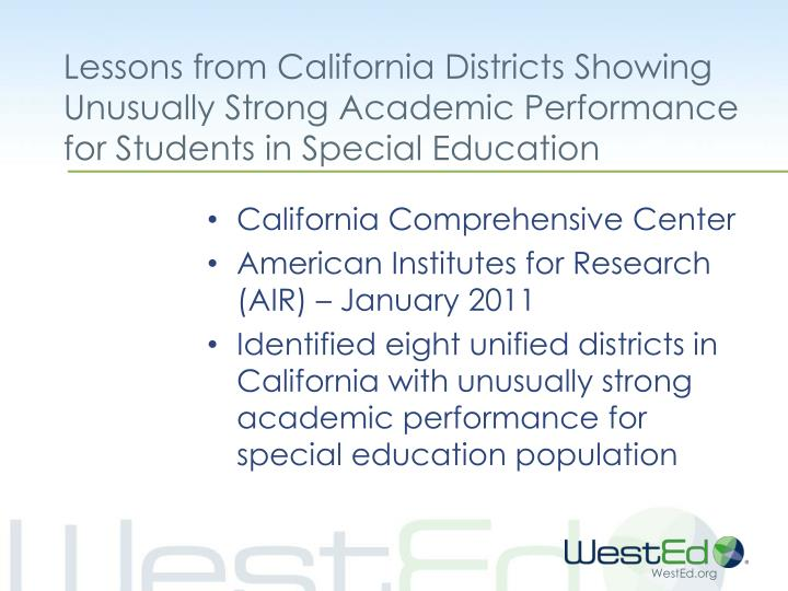Lessons from California Districts Showing Unusually Strong Academic Performance for Students in Special Education