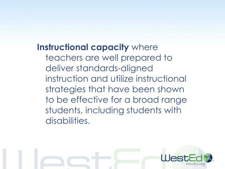 Instructional capacity