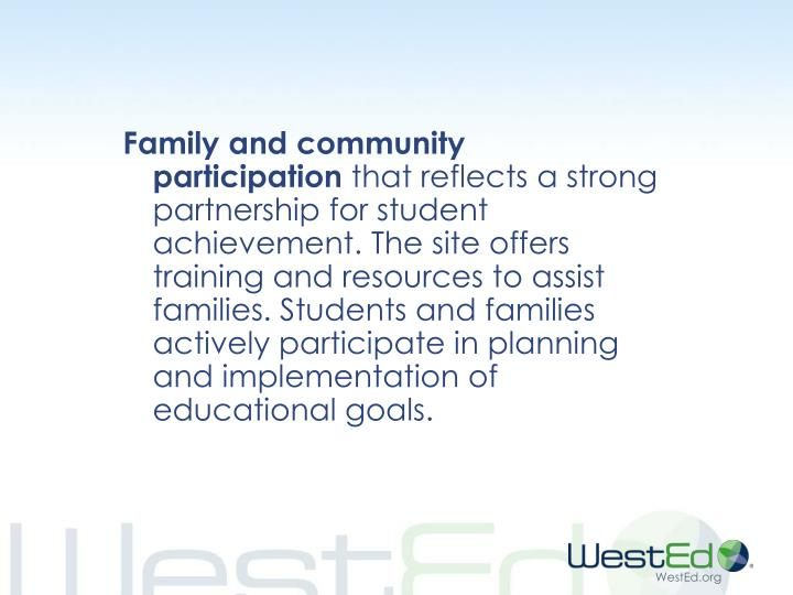 Family and community participation