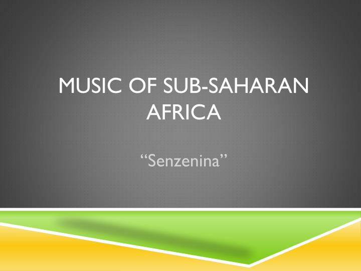 music of sub saharan africa n.
