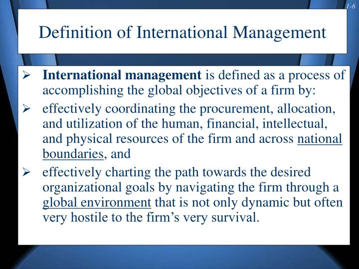 Definition of International Management