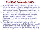the hear proposals 2007