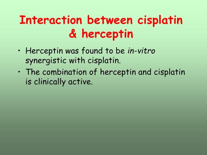 Interaction between cisplatin & herceptin