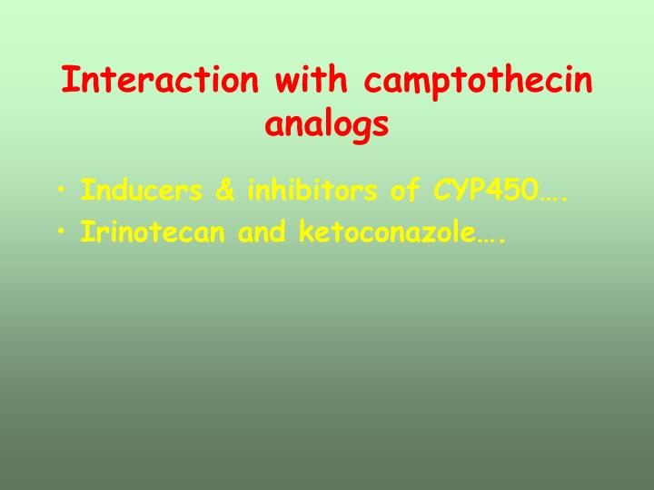Interaction with camptothecin analogs