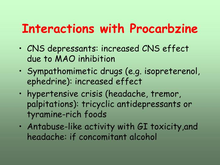 Interactions with Procarbzine