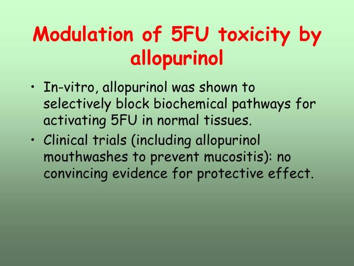 Modulation of 5FU toxicity by allopurinol