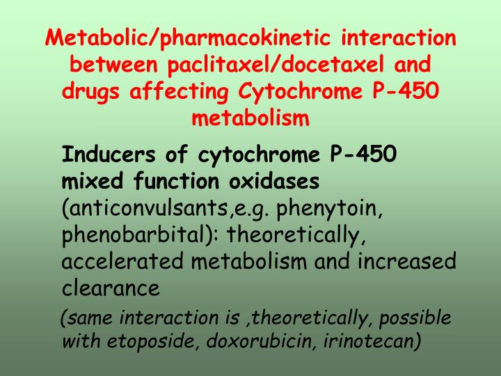 Metabolic/pharmacokinetic interaction between paclitaxel/docetaxel and drugs affecting Cytochrome P-450 metabolism