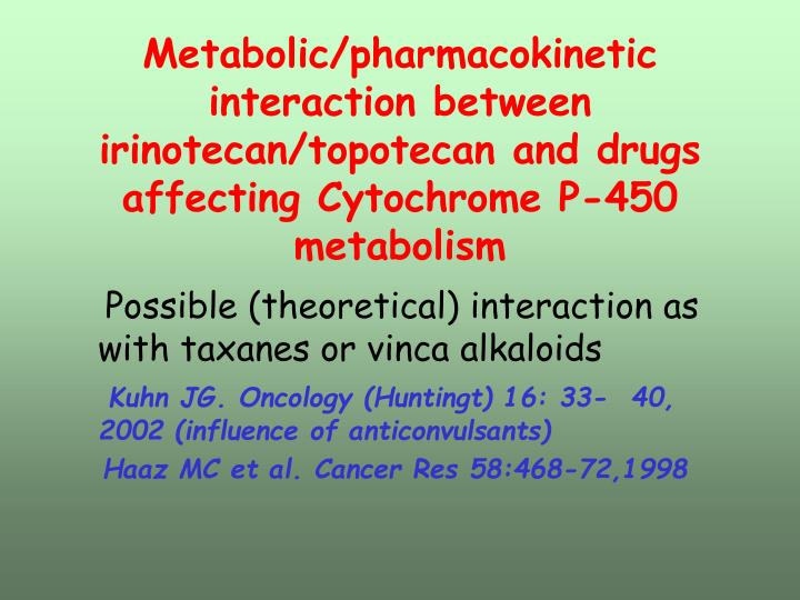 Metabolic/pharmacokinetic interaction between irinotecan/topotecan and drugs affecting Cytochrome P-450 metabolism
