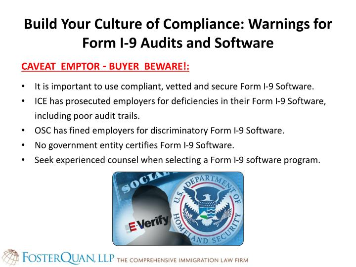 Build Your Culture of Compliance: Warnings for Form I-9 Audits and Software
