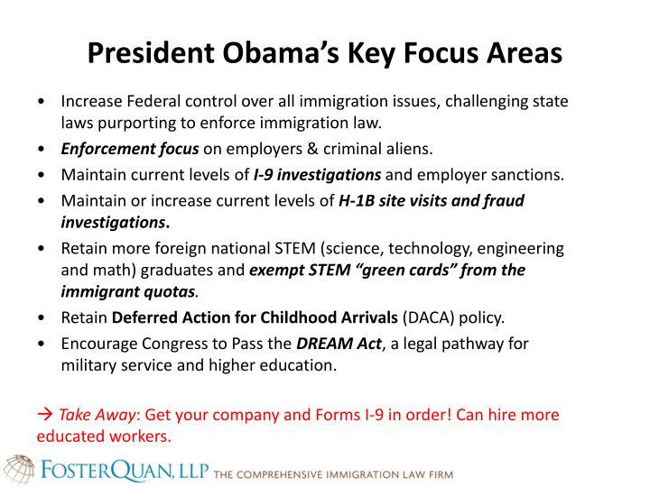 President obama s key focus areas
