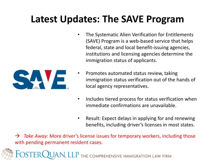 Latest Updates: The SAVE Program
