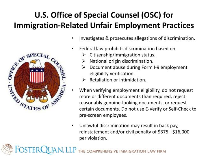 U.S. Office of Special Counsel (OSC) for Immigration-Related Unfair Employment Practices