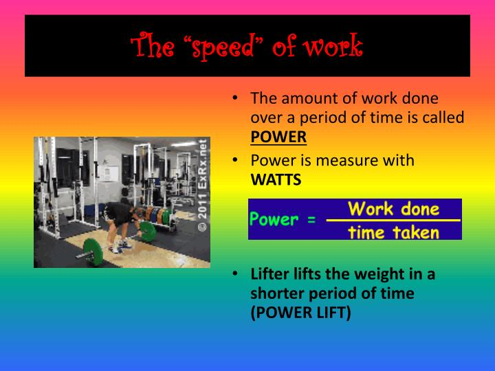 The speed of work
