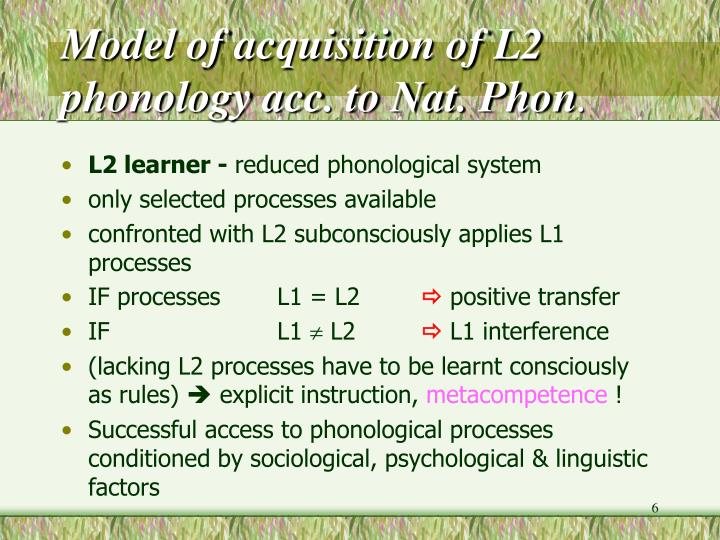 Model of acquisition of L2 phonology acc. to Nat. Phon