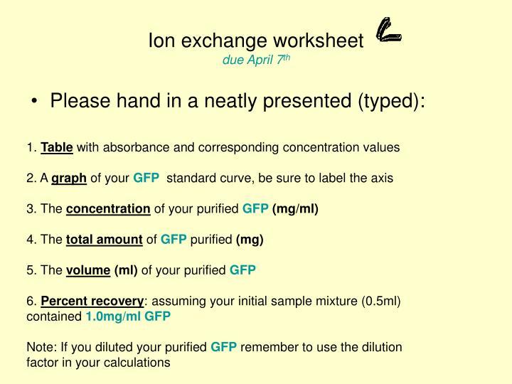 Ion exchange worksheet due april 7 th