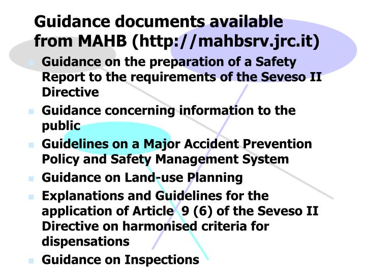 Guidance documents available