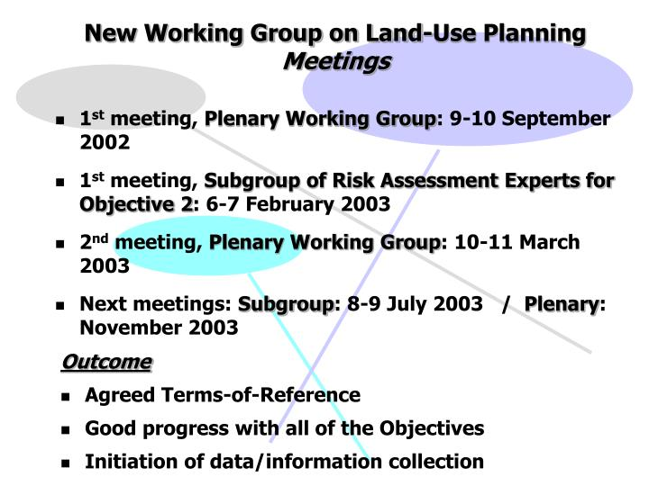 New Working Group on Land-Use Planning