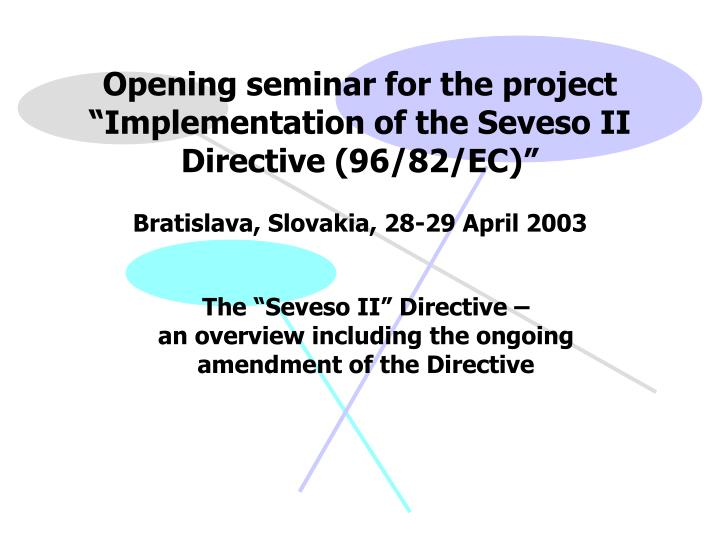 Opening seminar for the project