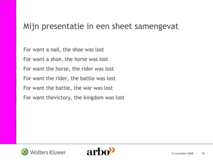 Mijn presentatie in een sheet samengevat