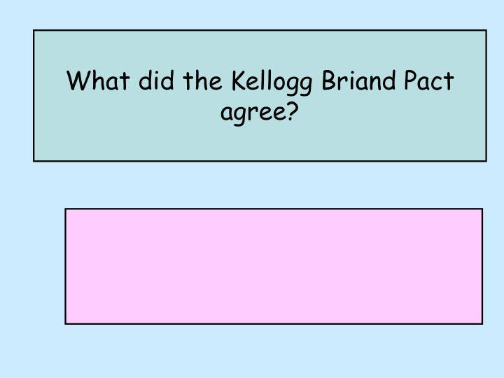 What did the Kellogg Briand Pact agree?
