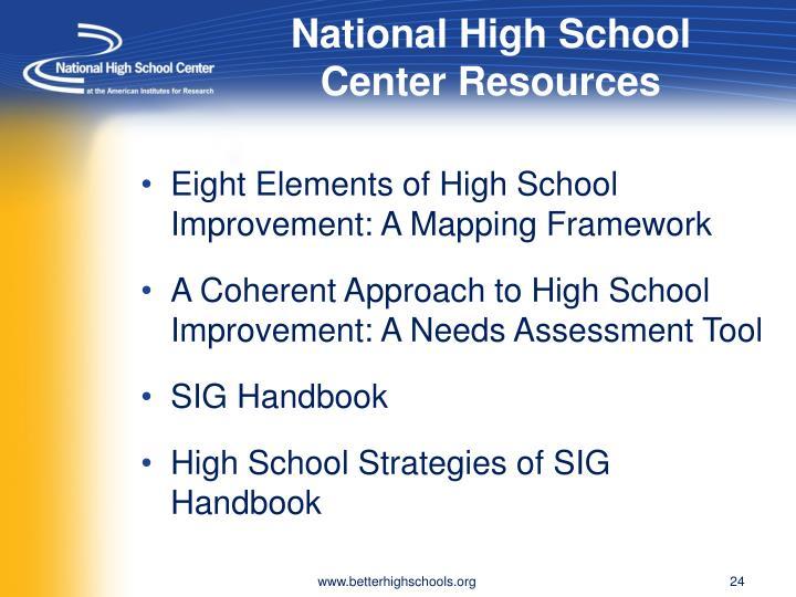 National High School Center Resources