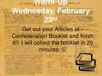 warm up wednesday february 23 rd