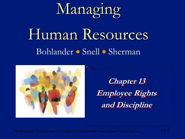 Managing human resources bohlander snell sherman