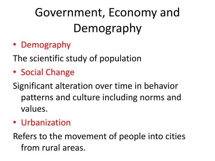Government, Economy and Demography
