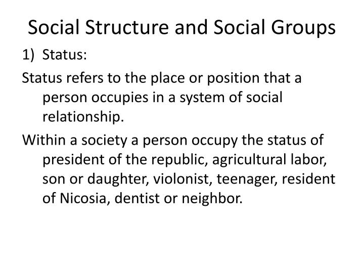 Social structure and social groups1