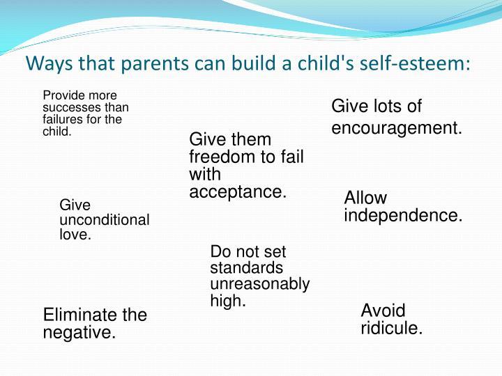 Ways that parents can build a child's self-esteem: