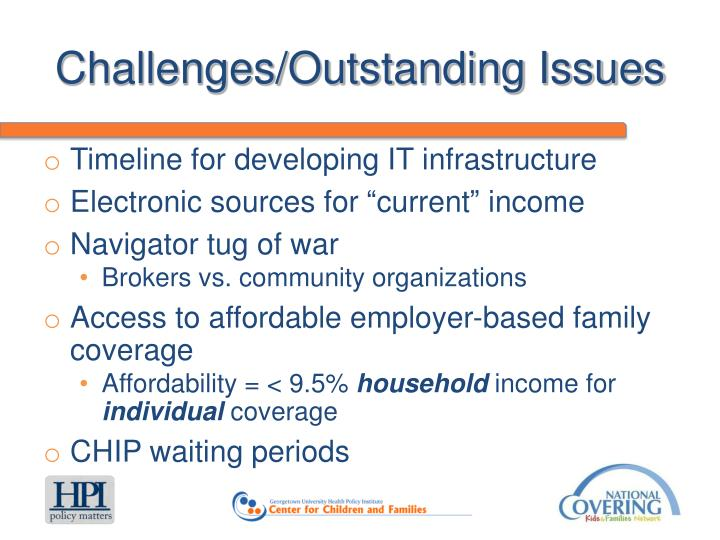 Challenges/Outstanding Issues