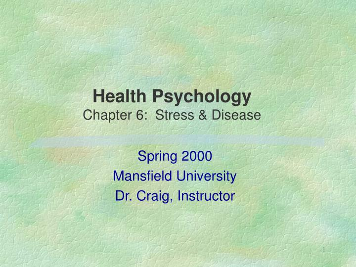 Health psychology chapter 6 stress disease