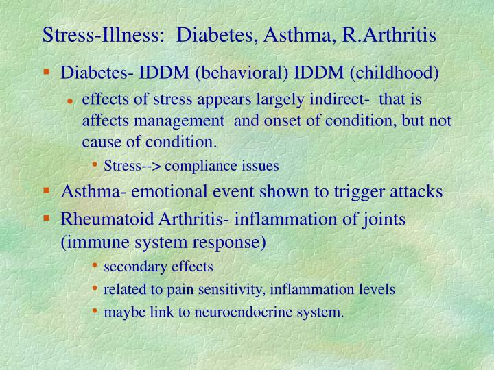 Stress-Illness:  Diabetes, Asthma, R.Arthritis