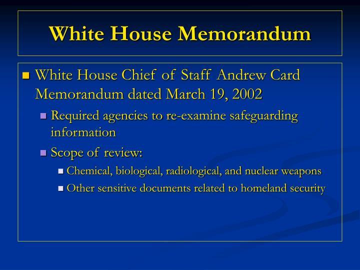 White house memorandum