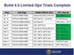 build 4 5 limited ops trials complete