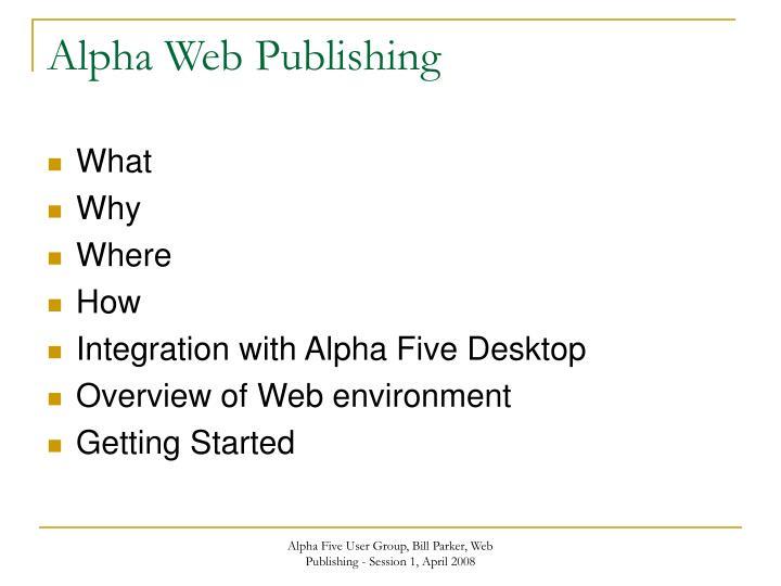 Alpha web publishing