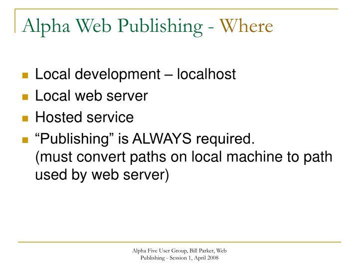 Alpha Web Publishing -
