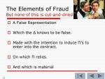 the elements of fraud but none of this is cut and dried