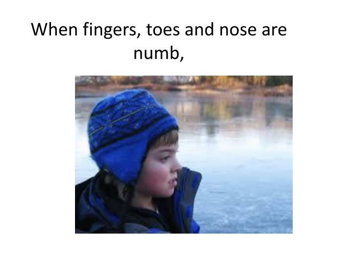 When fingers, toes and nose are numb,