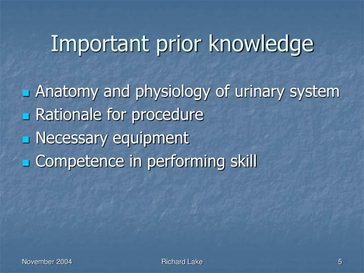 Important prior knowledge