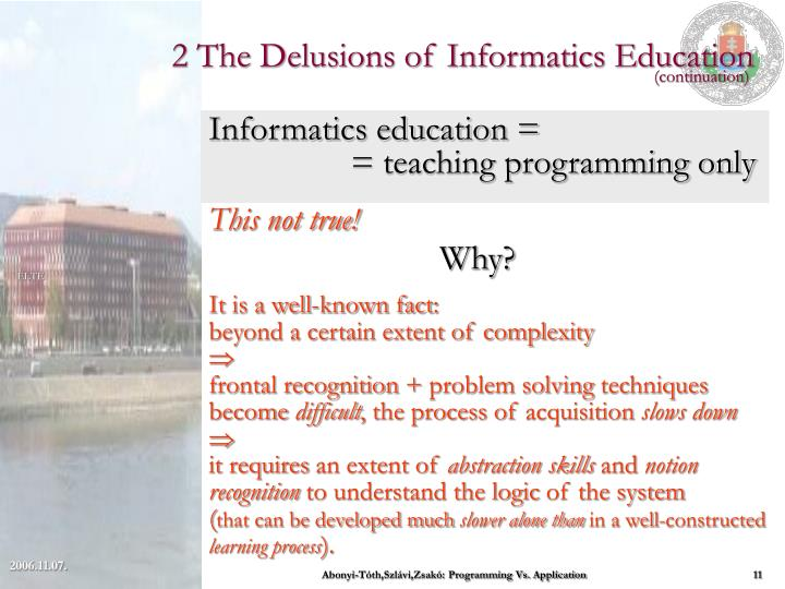 2 The Delusions of Informatics Education