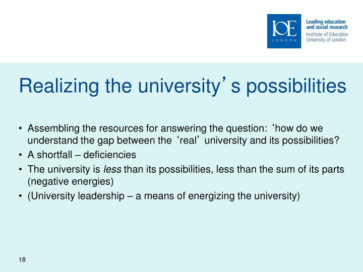 Realizing the university