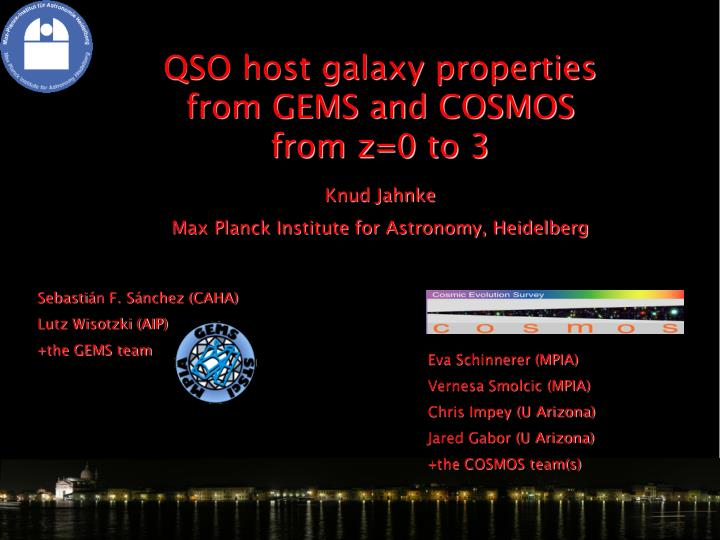 QSO host galaxy properties from GEMS and COSMOS from z=0 to 3