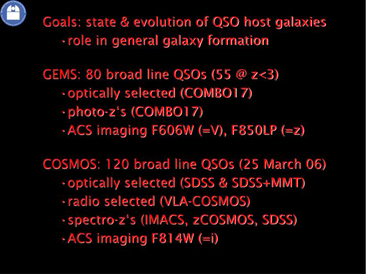 Goals: state & evolution of QSO host galaxies