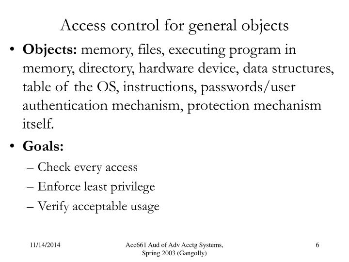 Access control for general objects